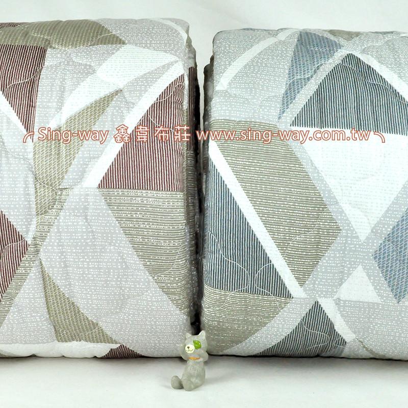 【限宅配】 雙色菱格幾合 變化格紋 精梳棉鋪棉床品床單布料 B990082