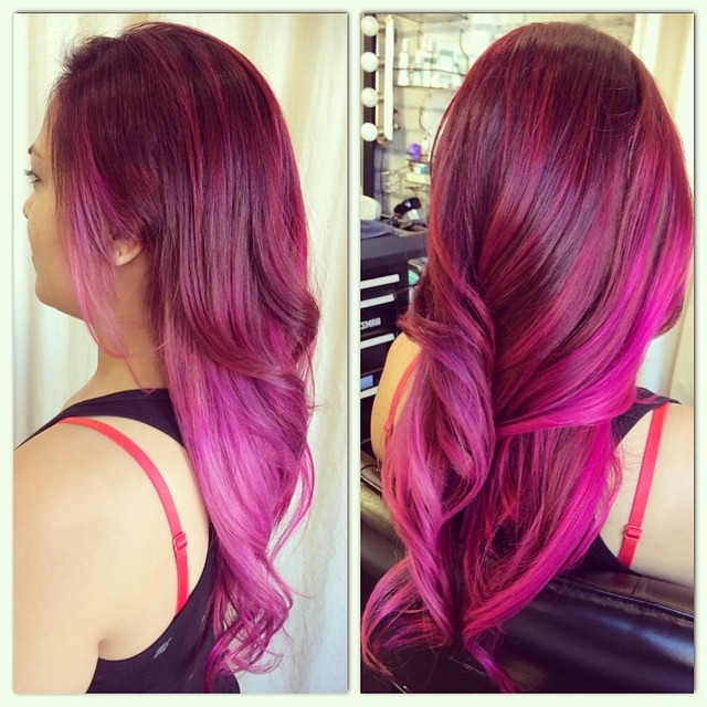 Ruby Red Wild Orchid Magenta Ombre Punkycolorombre Punkycolor Balayageombre Balayage
