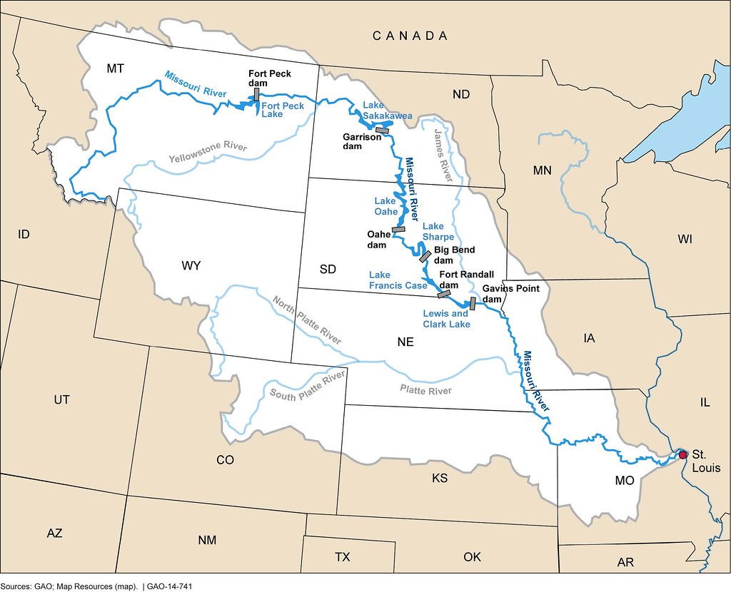 Figure 1 Missouri River Basin and the Six Mainstem Dams a Flickr