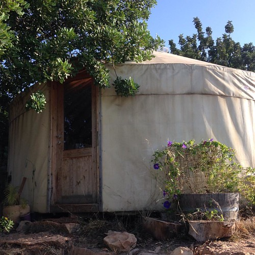 We are moving into my mom's charming little yurt today!