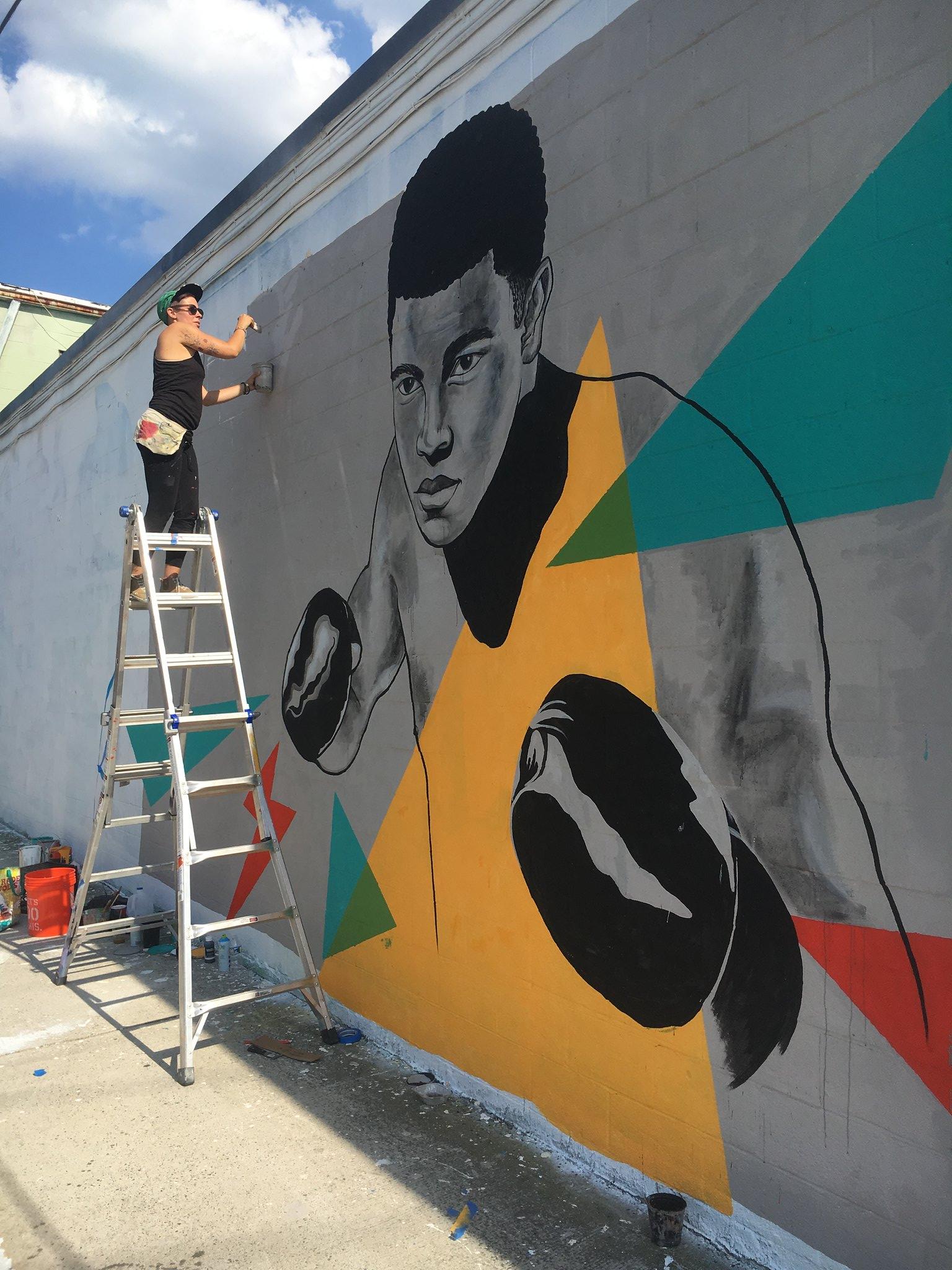 Muhammad Ali mural by Rose Jaffe