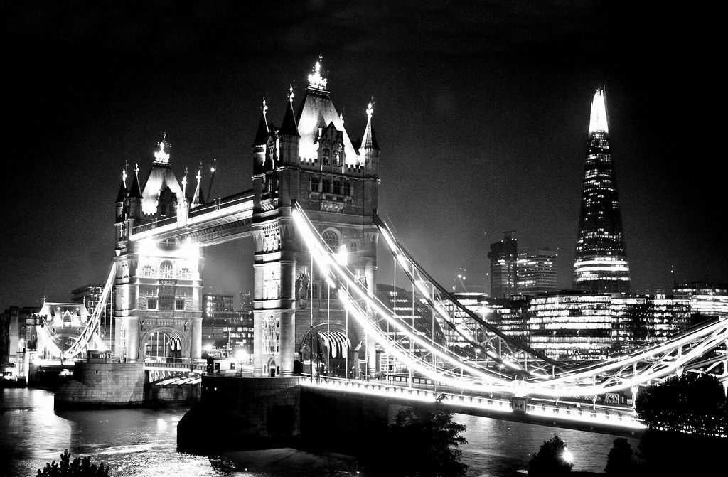 Tower Bridge At Night 2 Black White Nikon D300s DSC 4452