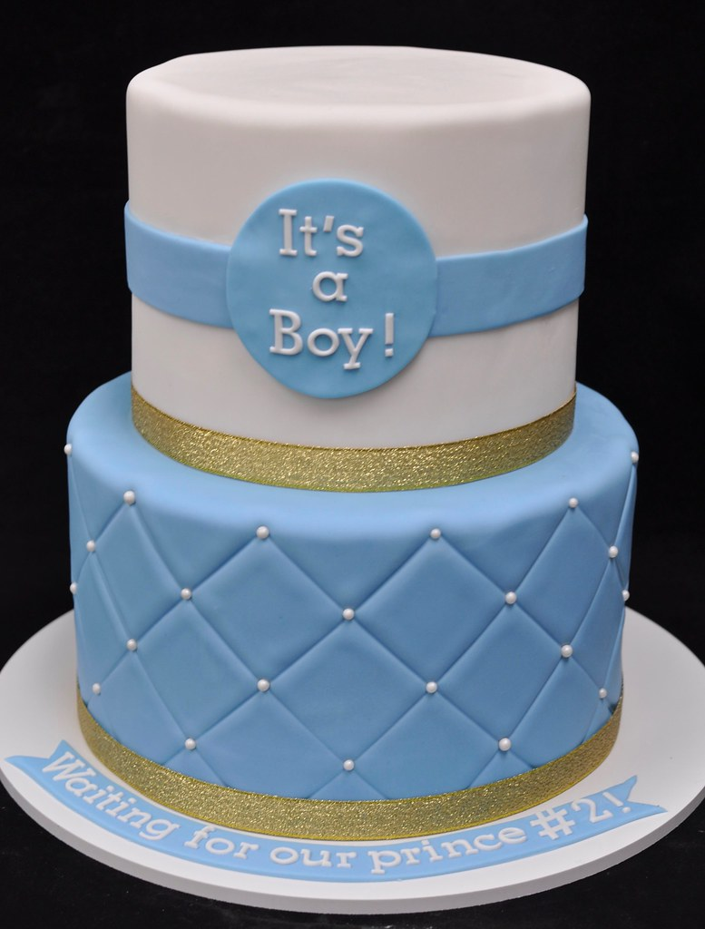 Gold Blue And White Baby Shower Cake Jenny Wenny Flickr