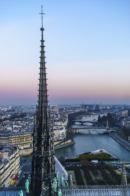 Paris, the river along the spire