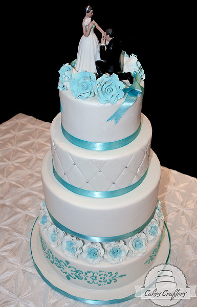 Tiffany blue wedding cake four tiers tiffany blue wedding flickr tiffany blue wedding cake by cakes crafters junglespirit Image collections