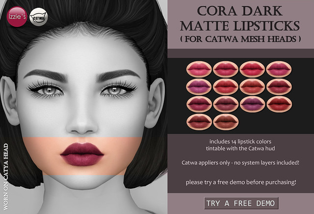 Cora Dark Matte Lipsticks (at Uber)