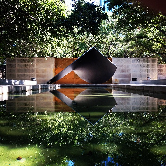 A Small Reflecting Pool In The Sculpture Garden At Dallas Museum Of Art
