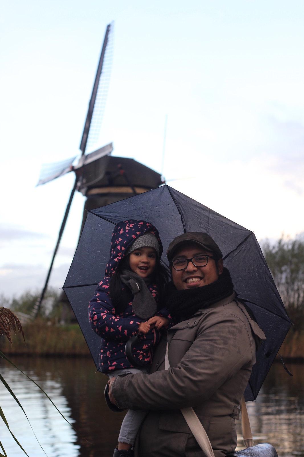 Papa and Tala at the Kinderdijk windmills