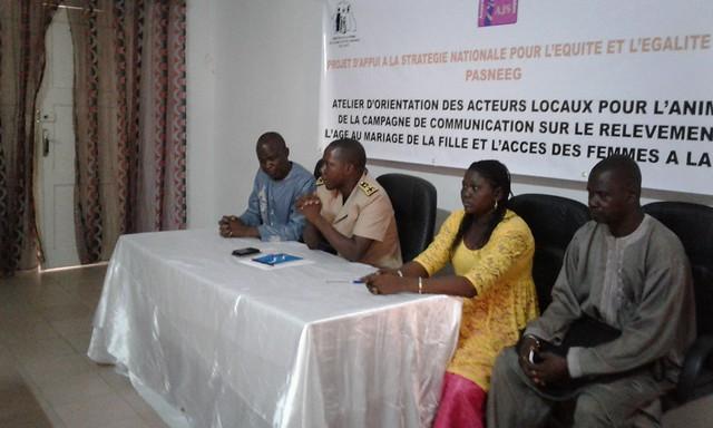 Atelier d'orientation des acteurs locaux pour l'animation de la campagne de communication sur le relèvement de l'âge légal au mariage de la fille et l'accès des femmes à la terre du 24 au 27 Octobre 2016.Atelier d'orientation des acteurs locaux pour l'ani