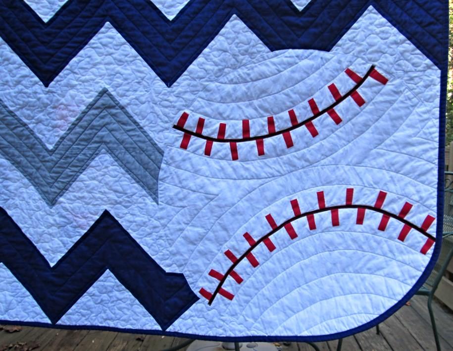 Chevron Baseball Baby Quilt Baseball Detail A Bespoke Qu Pam Awesome Baseball Quilt Pattern