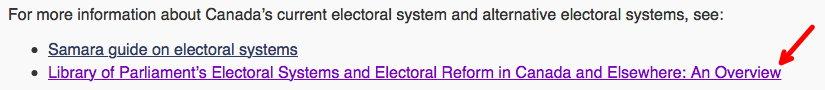 For more information about Canada's current electoral system