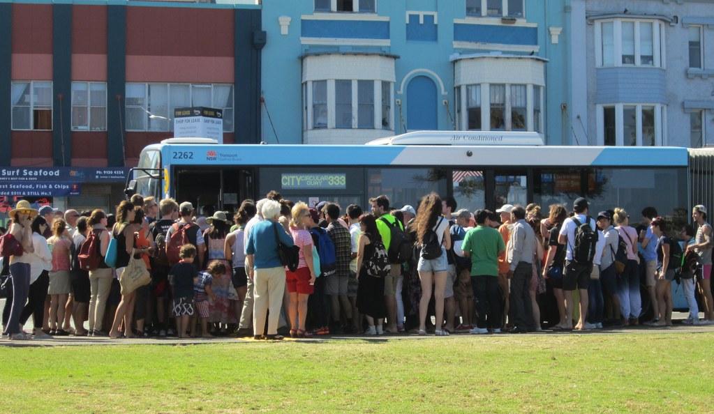 Bondi Beach Queue For Bus Back To Bondi Junction And Sydney City By Daniel