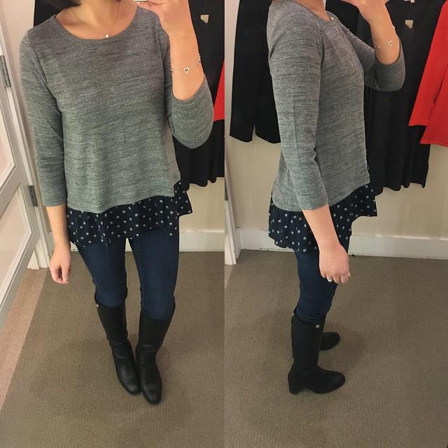 LOFT Shell Flounce Sweater, size XSP