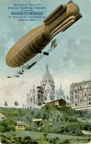 Impression of the Surcouf built dirigible 'Ville de Paris' above Montmartre [France, 1906-1908] | by Kees Kort Collection
