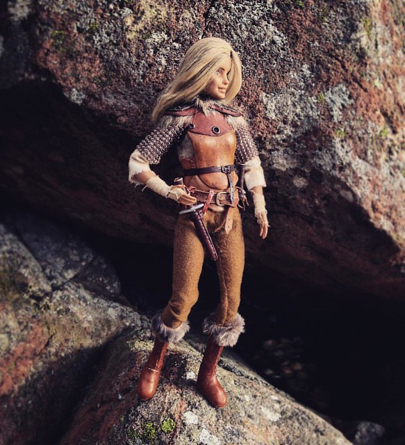Aeryn the Nord Sellsword  . #custombarbie #customdoll #dollphotography #sixthscale #6thscale #playscale #dollstagram #instadoll #skyrim #skyrimfigure #dollsofinstagram #barbiemadetomove