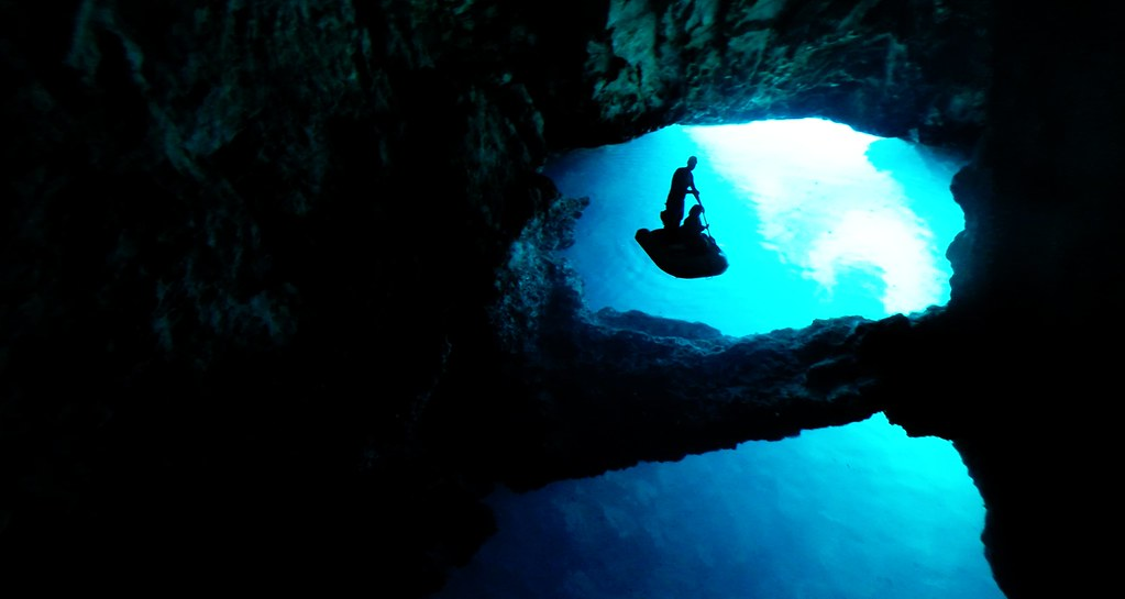 Blue Cave, dinghy in interior, island Bisevo, Vis, Croatia 10