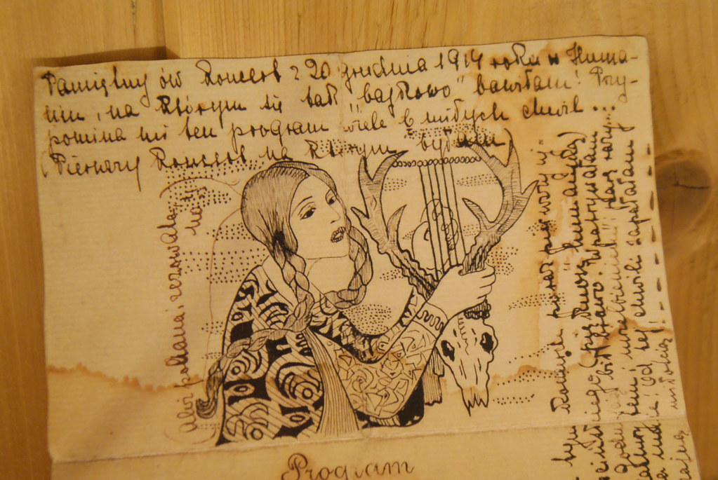 Dessin de la femme à la harpe - Willa Atma à Zakopane.