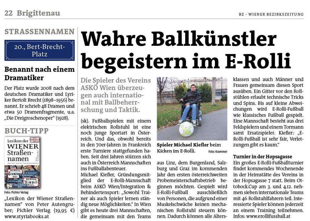 Wiener Bezirkszeitung Brgittenau: Wahre Ballkünstler begeisterin im E-Rolli
