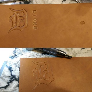 Doing up a wallet in natural veg-tan. #Detroit #lions #football | by back2dabike