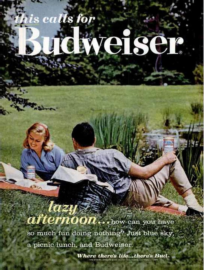 1962-this-calls-for-Budweiser-lazy-afternoon-…