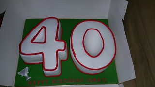 Red trimed 40th numbered birthday cake | by platypus1974