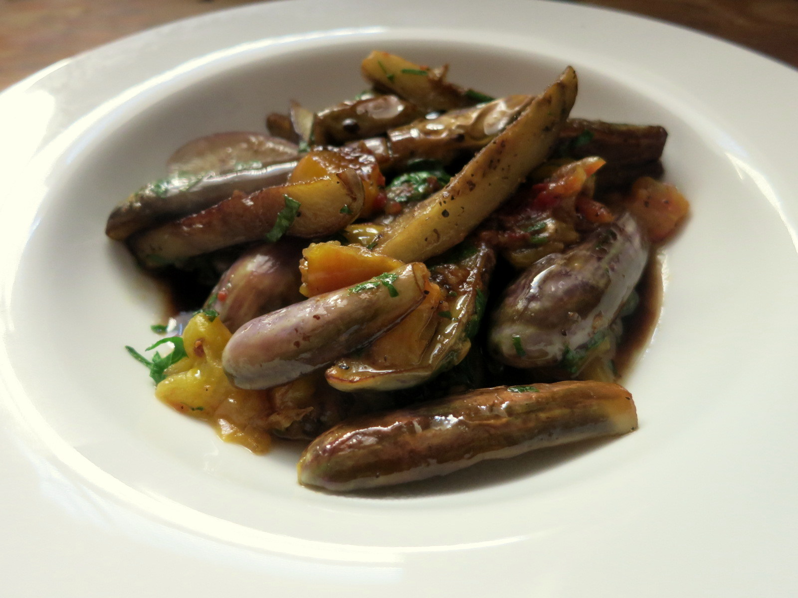 Caramelized fairy tale eggplant, heirloom tomatoes