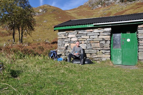 Soaking up the sun outside Sourlies Bothy