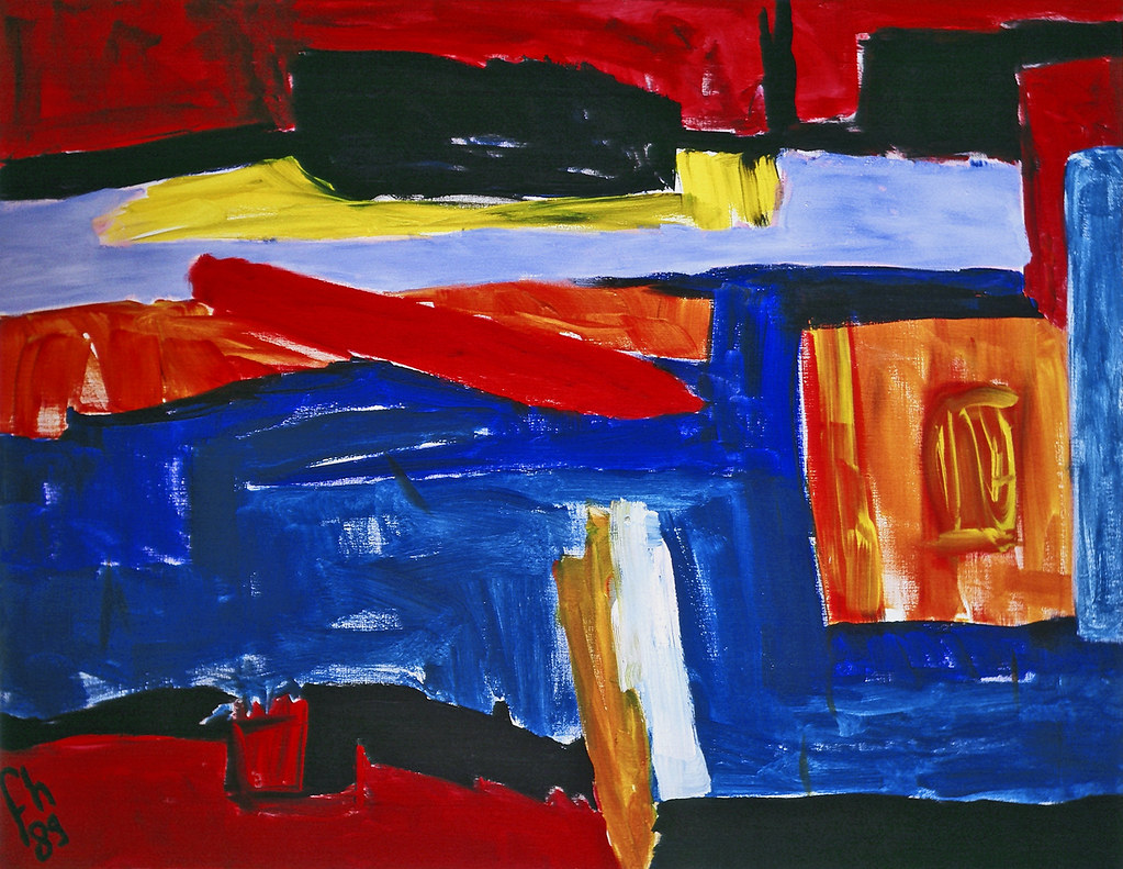 ... 1989   U0027Winter Landscapeu0027, Acrylic Large Painting On Canvas, Dutch  Abstract Expressionism