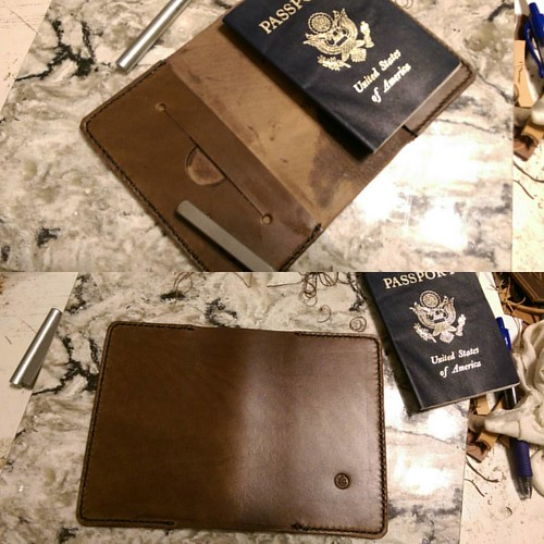 Decided to do up another passport cover tonight.   #leather #passport #wallet #handstitched #handmade #horweeen | by back2dabike