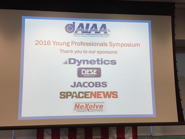 20-21 October 2016 - AIAA Young Professionals Symposium and Social hosted by the Greater Huntsville Section