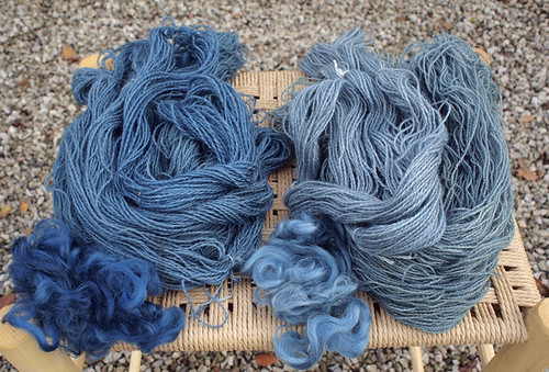 yarn dyed with indigo and woad | by textile practice
