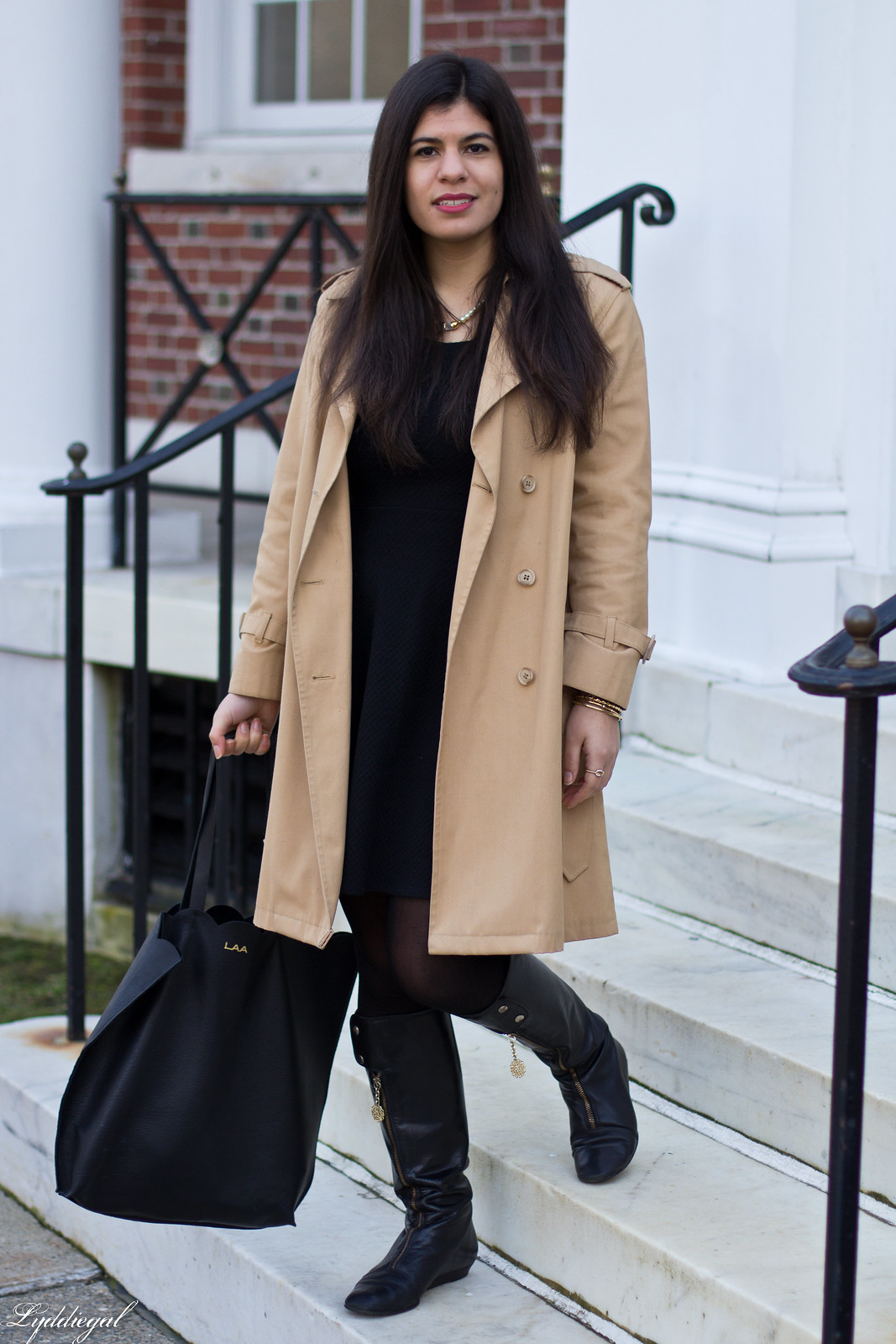 trench coat, little black dress, boots, matine tilly tote.jpg