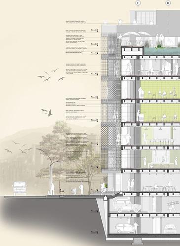 Centro vertical centro vertical comunitario modelo del p for Arquitectura nota de corte