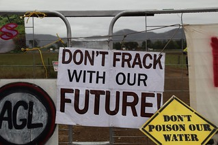 Lock-on at AGL's CSG fracking site at Gloucester | by kateausburn