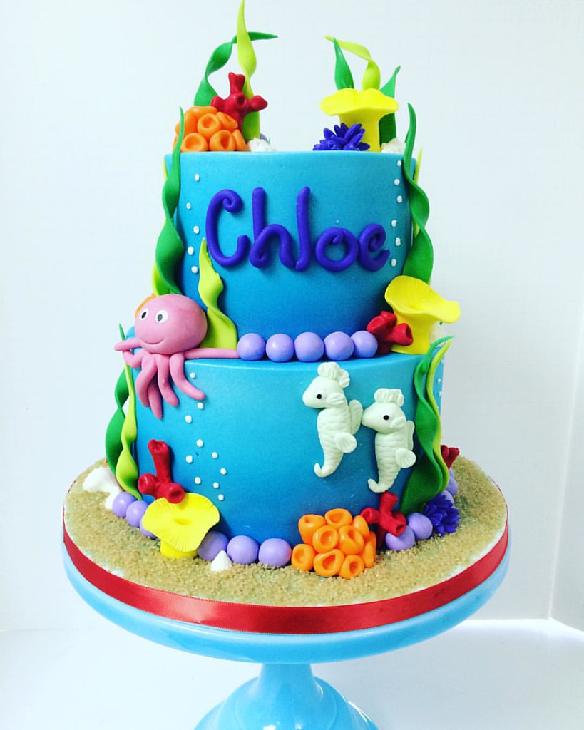 Bright and colorful under the sea themed birthday cake wit Flickr