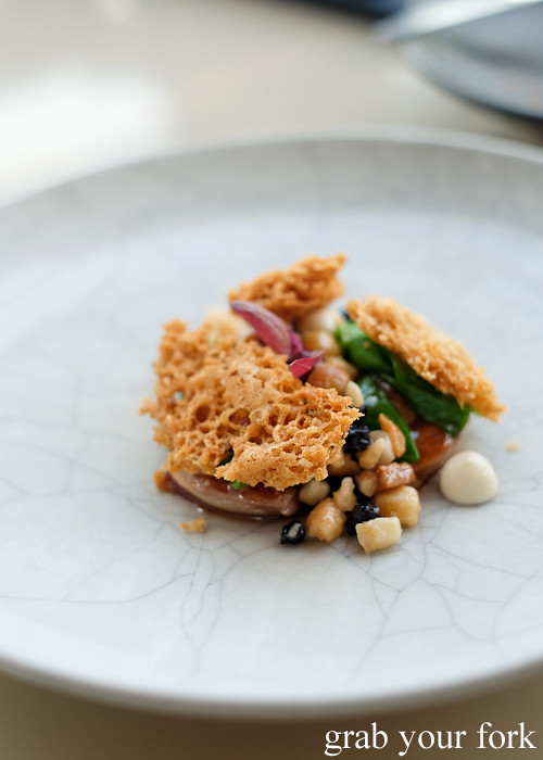 Butter poached quail with macadmia rubble at Bennelong Restaurant Sydney