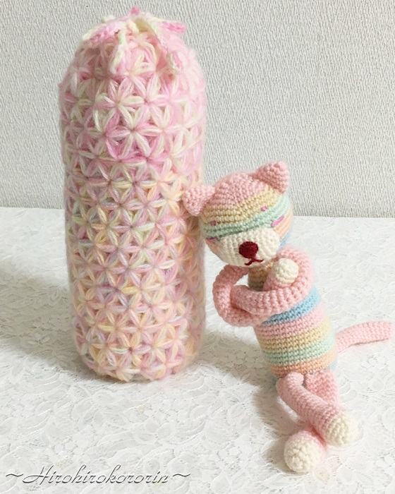 リフ編み水筒ケース