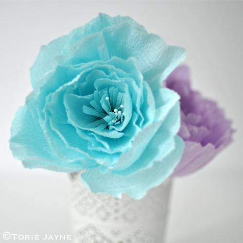 Light blue crepe paper peony | by toriejayne