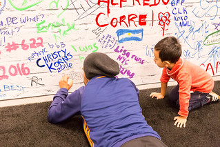 Father and Son signing wall at Marathon Expo New York | by wuestenigel