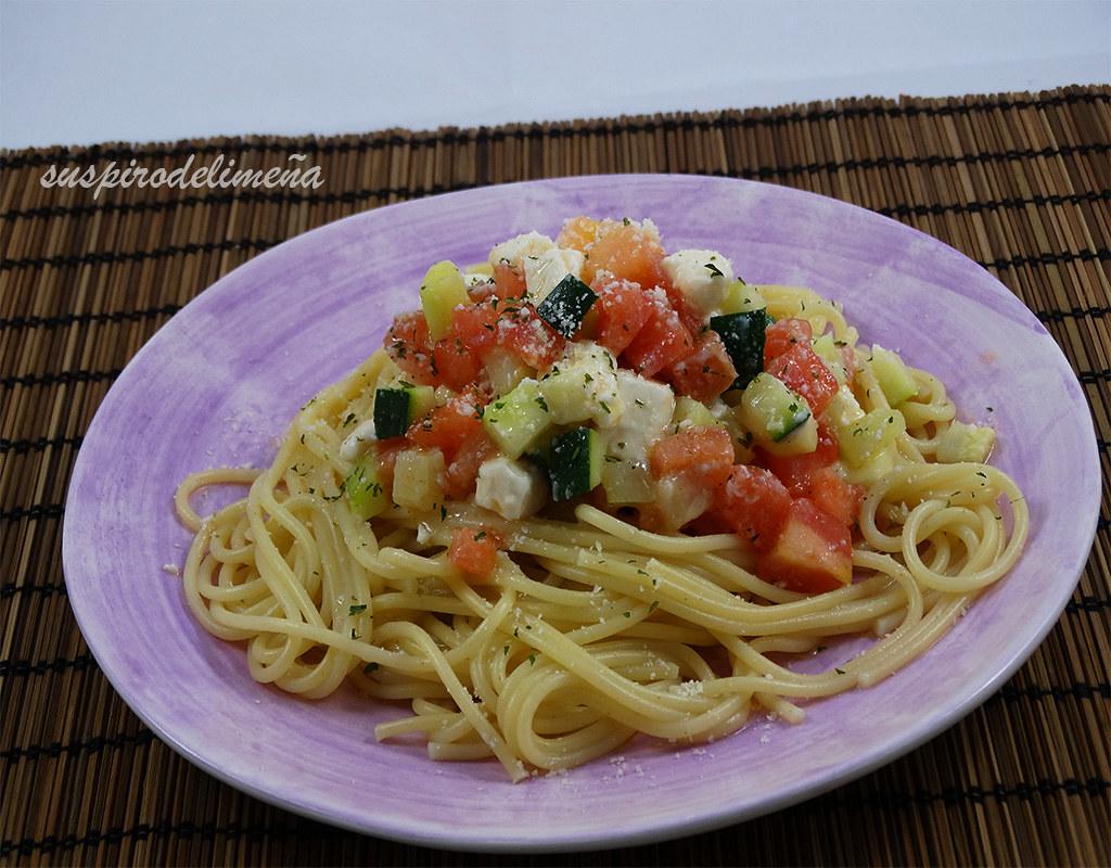 Espaguetis con verduritas
