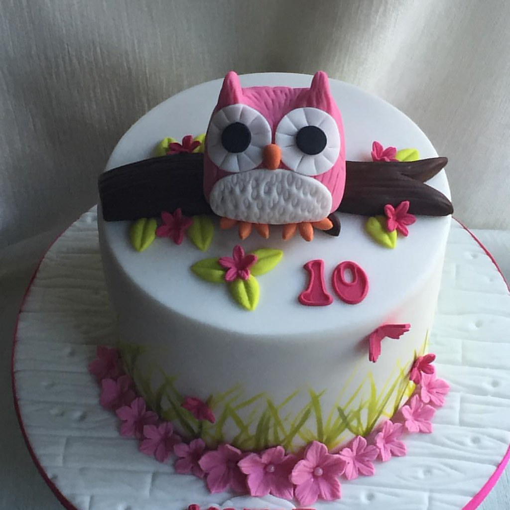Simple Owl Cake For Katiehappy 10th Birthday Xx Flickr