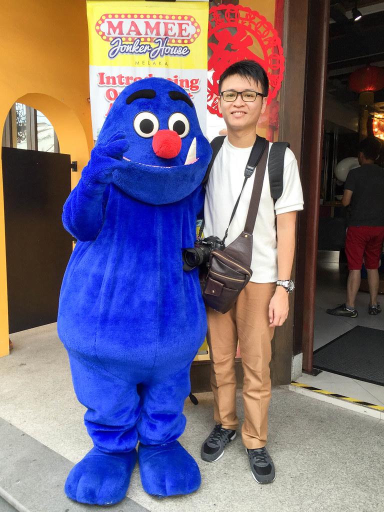 Posing with Mamee Monster Melaka.