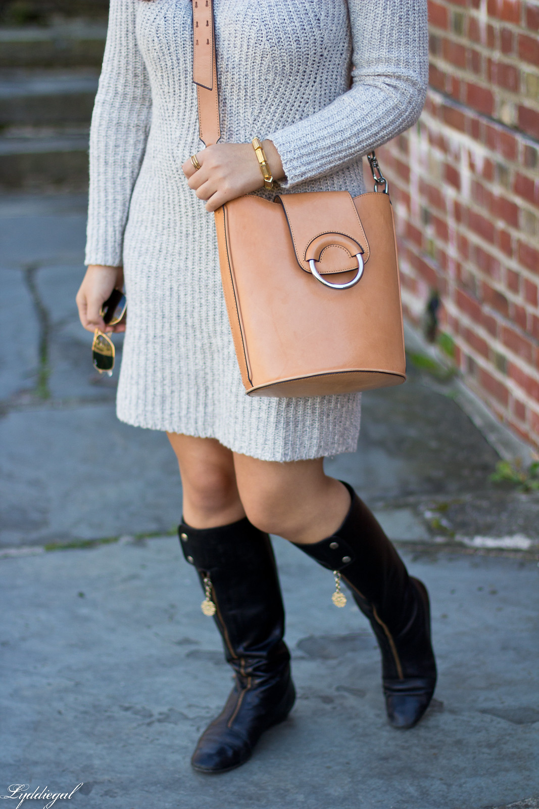 grey sweater dress, black boots, bucket bag-3.jpg