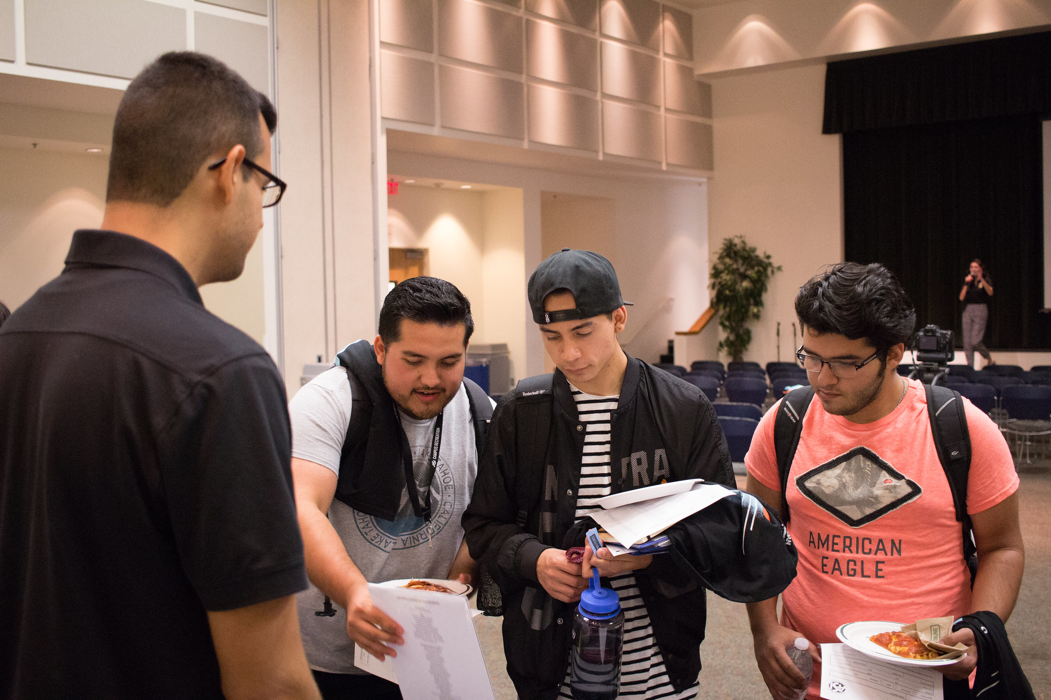 students look at open job positions