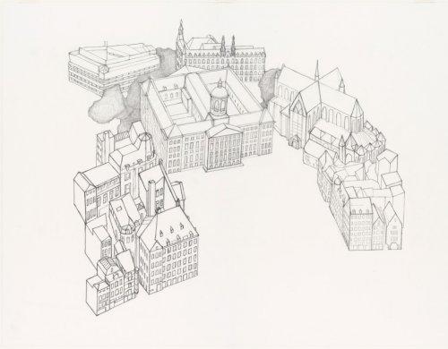 La place de Dam avec le Palais Royal d'Amsterdam et la Nouvelle église sur la droite.