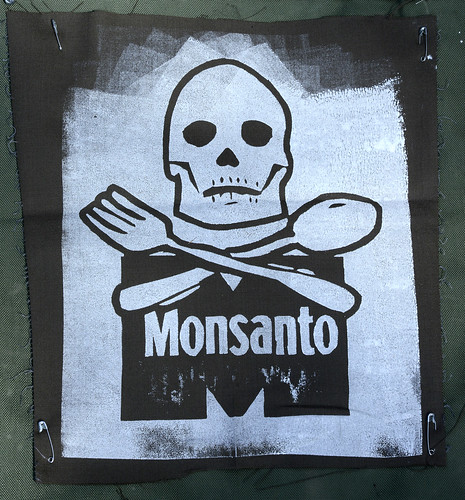 Linoleum Block Print Shows Monsanto No Love