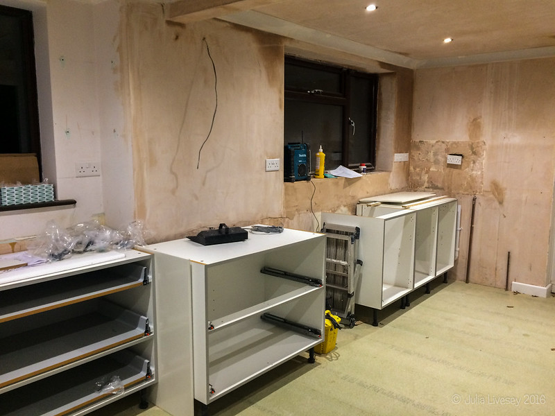 The new kitchen is starting to go in