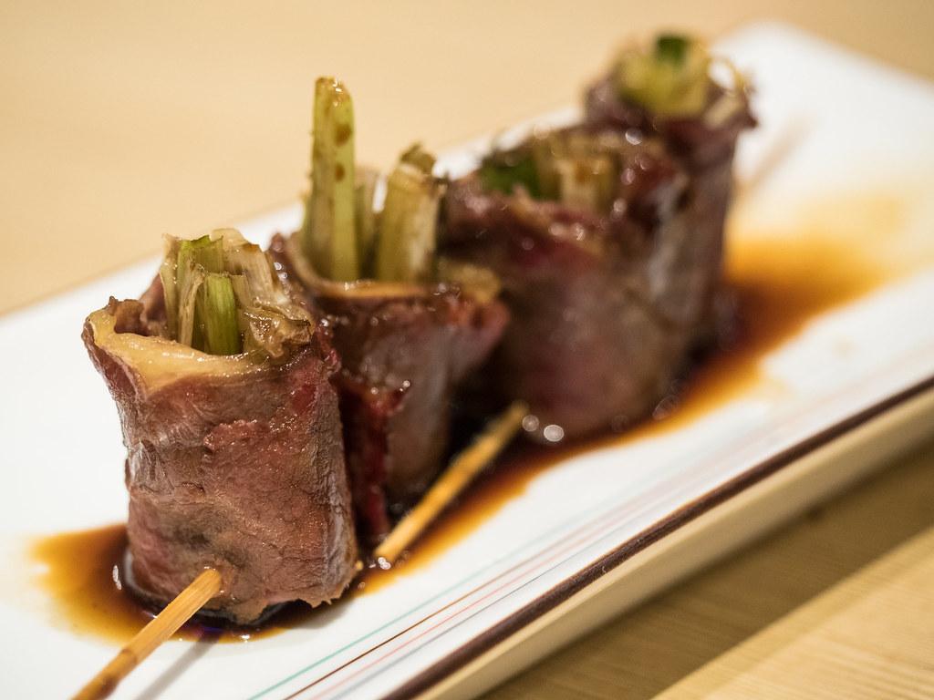 Aoki Tei's Beef Negi Kushi Yaki (Slice beef wrapped with spring onion)
