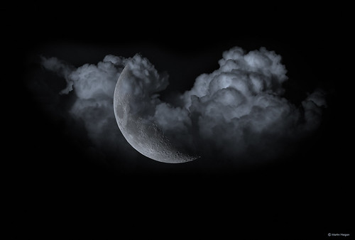 December Full Moon >> Waxing Crescent Moon behind the clouds | Note: The image is … | Flickr