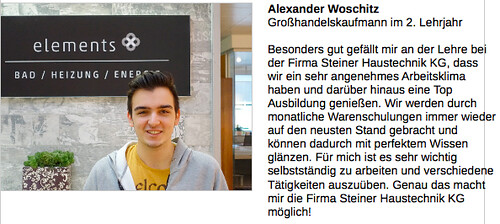 Lehrlings-Statement Alexander